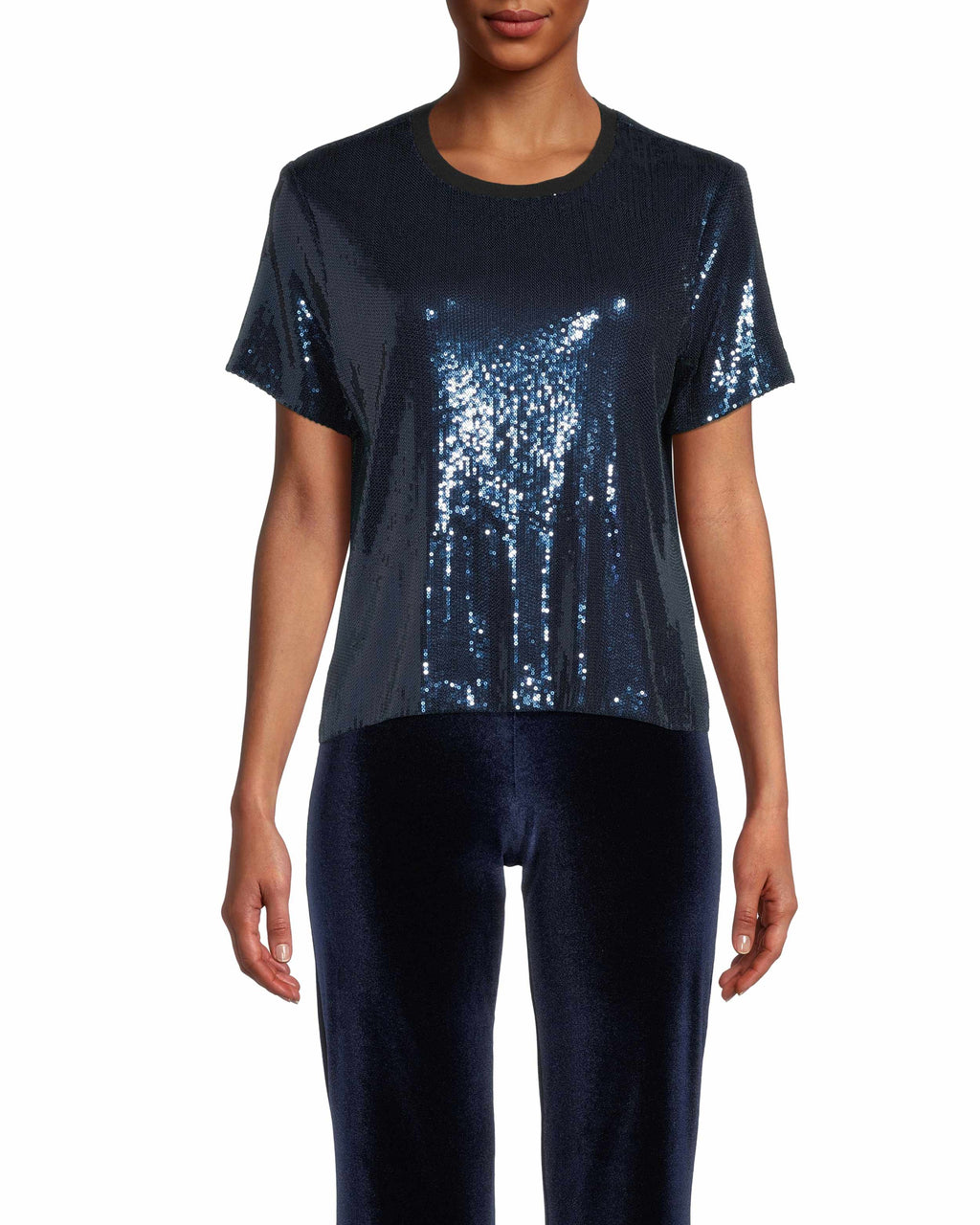 CT18392 - SEQUIN TSHIRT - tops - shirts - Now this is what we call an elevated basic. This classic t-shirt silhouette is upgraded with navy blue sequins throughout with a soft lining to prevent scratching. Add 1 line break Stylist tip: Pair with your favorite denim for a casual night out.