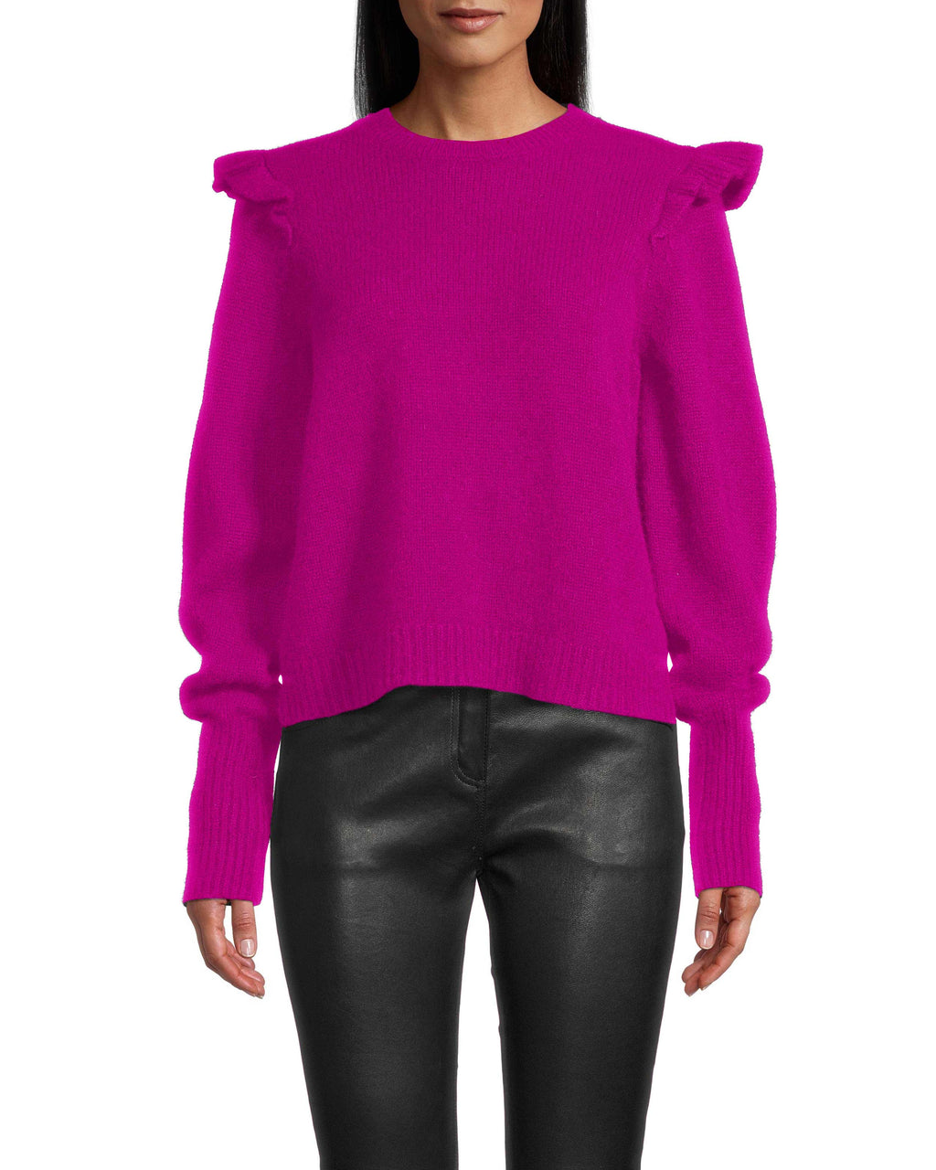 CT18410 - CASHMERE PUFF SLEEVE JEWEL NECK SWEATER - tops - knitwear - This sweater is a closet must have. Crafted from 100% cashmere, this piece is incredibly soft and features a slight ruffle along the shoulder for a feminine detail. Add 1 line break Stylist tip: Style with denim and heeled booties.