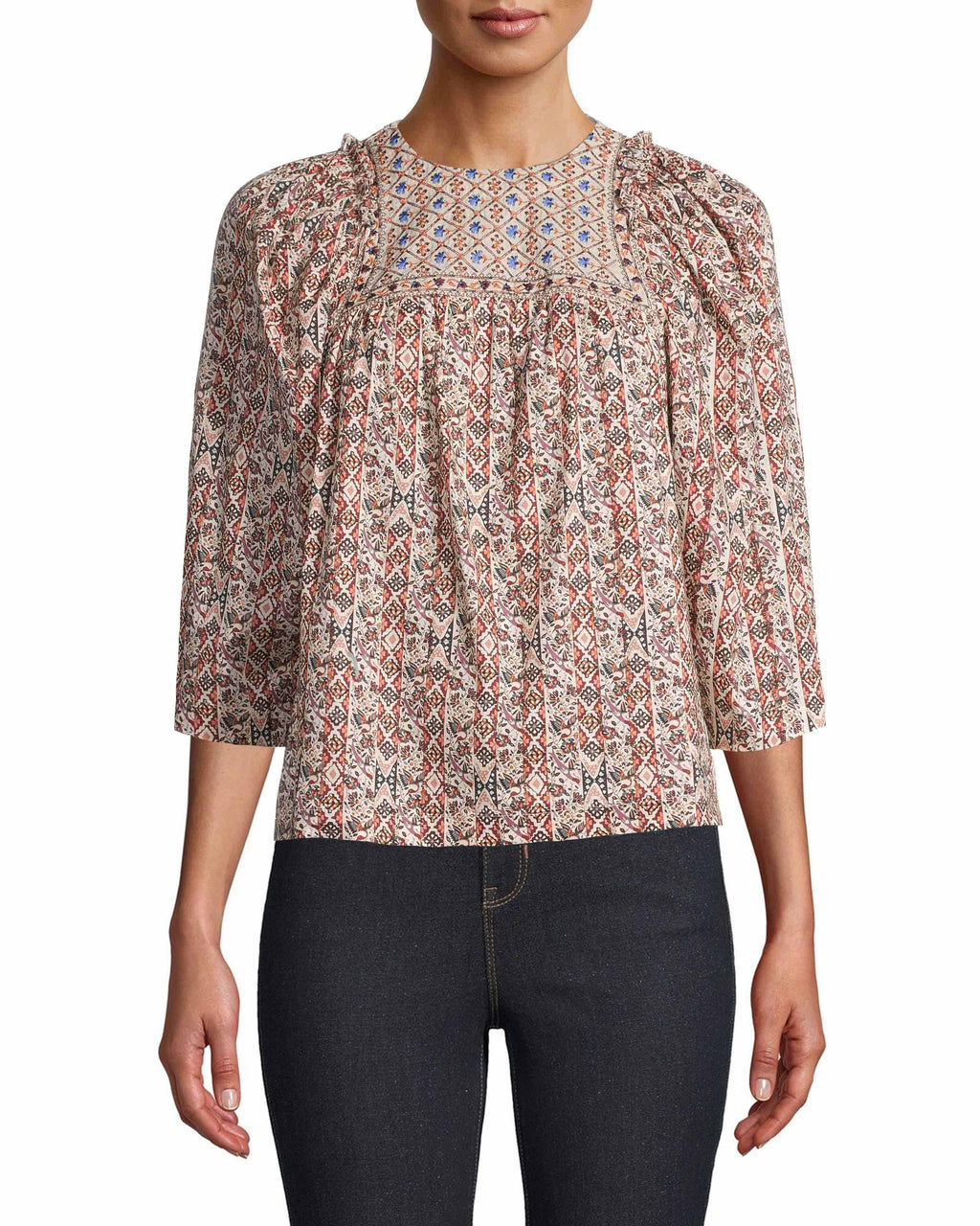 CT18471 - PARTRIDGE STRIPE EMBROIDERED BLOUSE - tops - blouses - Dainty blue floral embroidery perfectly contrasts against our earthy partridge stripe print on this feminine blouse. The puffed sleeves feature subtle ruffling along the shoulder for added texture. Add 1 line break Stylist Tip: Style with our wide leg denim.