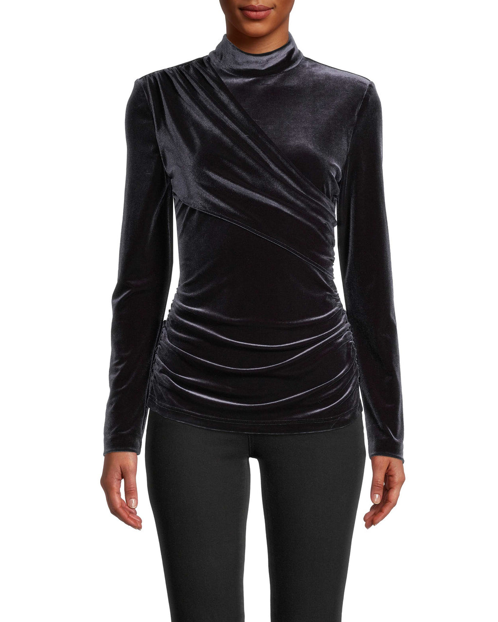 CT18477 - OPEN BACK TURTLENECK TOP - tops - blouses - Perfect for colder date nights, this subtly sexy top features a flattering faux wrap front and an open back. Crafted from luxurious, soft velvet. Add 1 line break Stylist tip: Style with a leather jacket and black jeans.