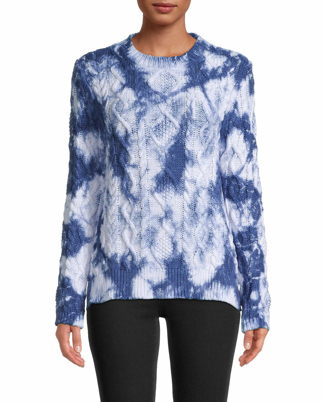 CT18537 - TIE DYE CABLE KNIT SWEATER - tops - knitwear - Chunky cable knit is a winter necessity, and this year - so is tie dye. Designed in a classic crew neck silhouette with a slightly flared sleeve. Add 1 line break Stylist Tip: Style with our Evening Garden Ruffle Mini Skirt.