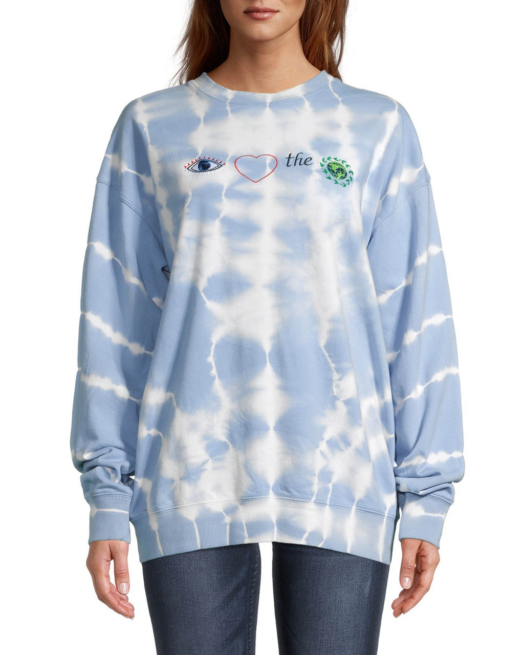 CT18555 - TIE DYE EMBROIDERED CREW NECK SWEATSHIRT - tops - knitwear - Wear your love for our planet on your sleeve with this cozy sweatshirt. This 100% cotton style features intricate embroidery of our signature evil eye, a heart and an earth against vibrant blue tie dye. Add 1 line break Stylist Tip: Pair with our matching shorts for a complete set.