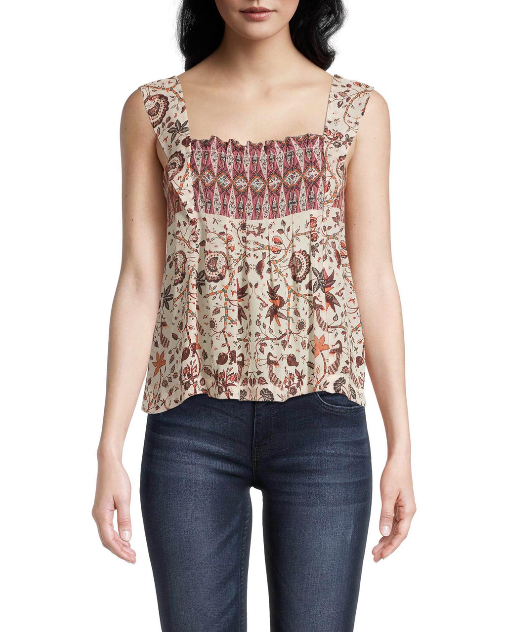 CT18556 - JAKARTA PRINT PLEATED TANK - tops - blouses - Designed in one of our favorite new prints, this lightweight tank features delicate pleating and flared straps for added texture. The square neckline is perfect for highlighting some of your favorite jewelry. Add 1 line break Stylist Tip: Style with our cozy cotton plaited cardigan.