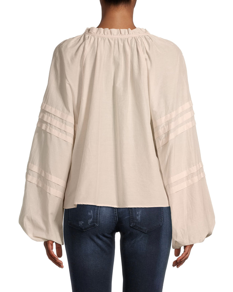 CT18573 - SOLID PEASANT BLOUSE - tops - blouses - Feminine and effortless, this lightweight peasant blouse features a ruffled neckline which can be left tied or untied, and subtle stripes on the puffed sleeves. Cut in a creamy parchment color. Add 1 line break Stylist Tip: Tuck into your favorite denim. Alternate View