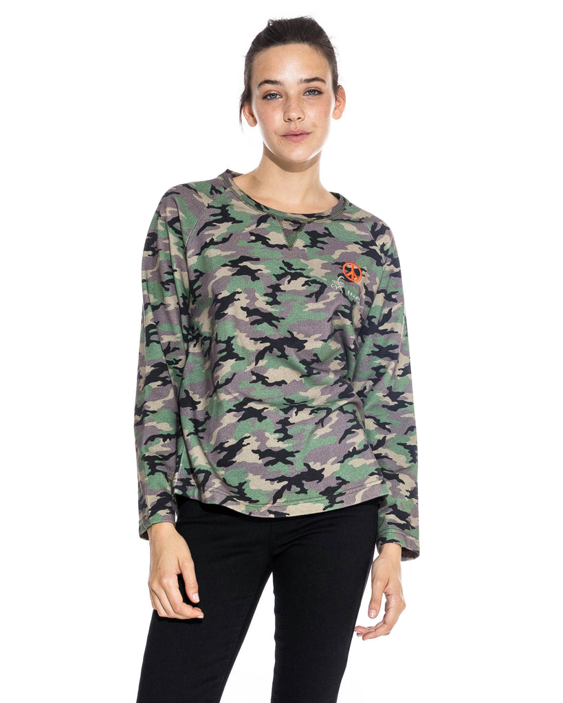 "CT18599 - CAMO CREW NECK SWEATSHIRT - tops - knitwear - Our new long sleeve camo sweatshirt is designed in a blush pink and classic camo colorway. Featuring a slightly raw hem and ""peace of mind"" embroidery. Add 1 line break Stylist tip: Wear with your favorite jeans and white sneakers. Alternate View"