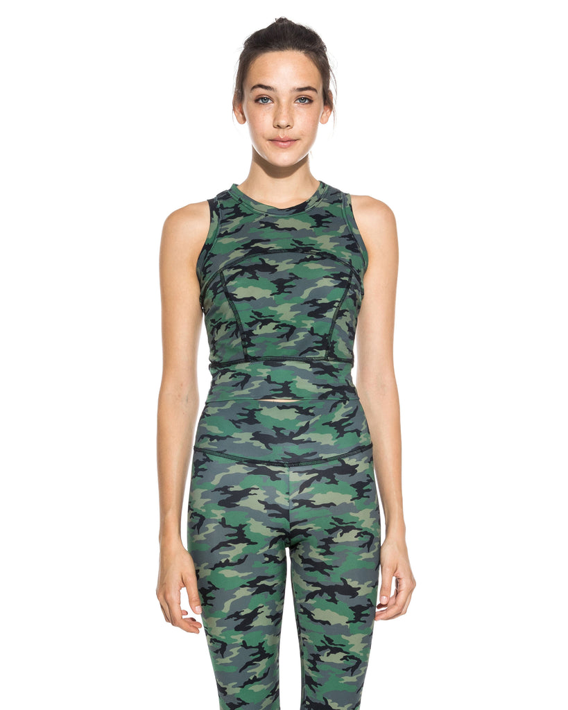 CT18603 - CAMO CROP TOP - tops - shirts - Upgrade your workout wardrobe. This cropped activewear top is designed in a blush pink and classic camo. Featuring a high neckline, seam detail throughout and is cropped at the waist. Add 1 line break Stylist tip: Style with the matching legging for a chic workout look. Alternate View