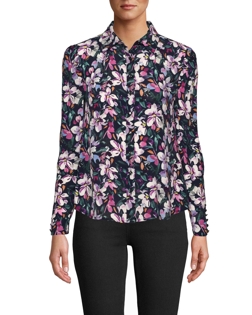 CT18624 - MIDNIGHT FLORAL BOYFRIEND BLOUSE - tops - shirts - We love our midnight floral boyfriend blouse for it's classic silhouette and bold print. This upgraded button down has a slight puff sleeve for a feminine detail. Crafted from a lightweight silk blend, this top was made for winter layering. Add 1 line break Stylist tip: Wear under a blazer for more formal occasions and solo for a more casual affair.