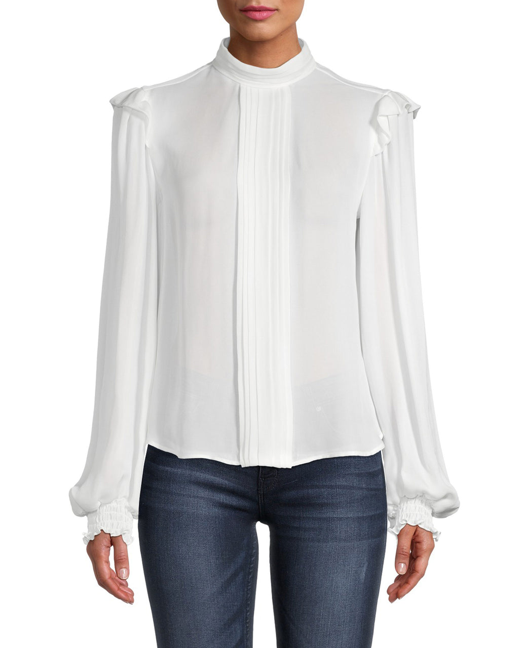 CT18630 - GEORGETTE PINTUCK BLOUSE - tops - blouses - Romantic ruffles are the perfect added details to this blouse. Featuring a slight mock neck, smocked cuffs and a keyhole opening on the back of the neck. Add 1 line break Stylist Tip: Style with worn denim for a more edgy look.
