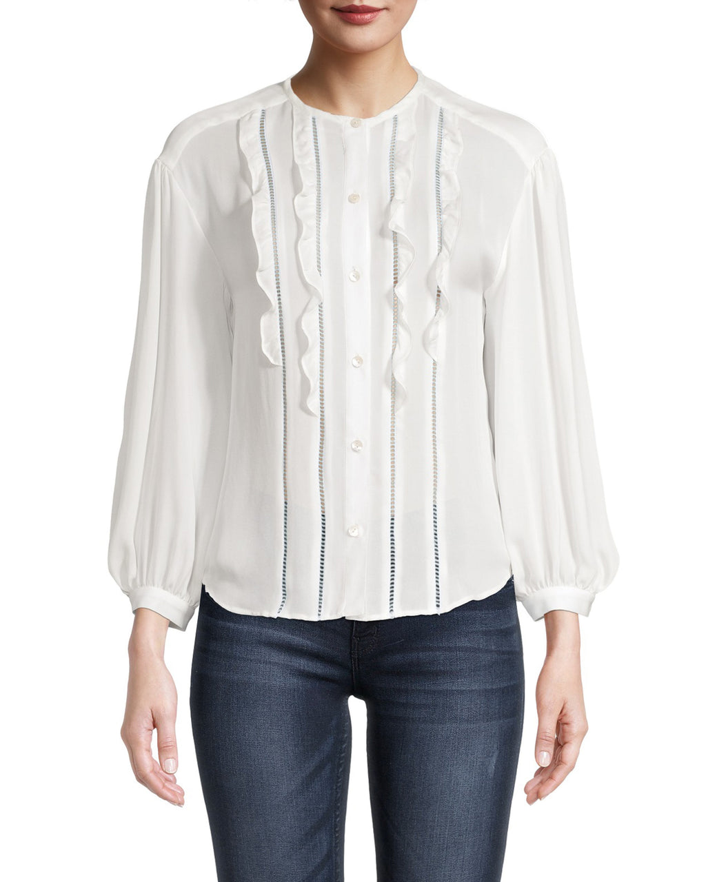 CT18631 - GEORGETTE BUTTON UP RUFFLE BLOUSE - tops - blouses - This Victorian inspired blouse is cut from a lightweight silky georgette fabric for an effortless look. Featuring feminine details like lace trim and ruffles. Add 1 line break Stylist Tip: Pair with one of our printed skirts.