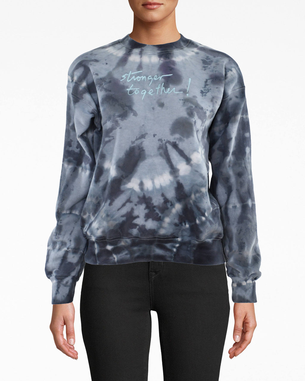 "CT18634 - ""Stronger Together"" Embroidered Sweatshirt - tops - knitwear - Tie dye is back and better than ever. This on-trend style has a classic crewneck sweatshirt silhouette. Wear with anything from leggings to white denim. Hand dyed and embroidered in the USA. Size up for a cozy, oversized fit."