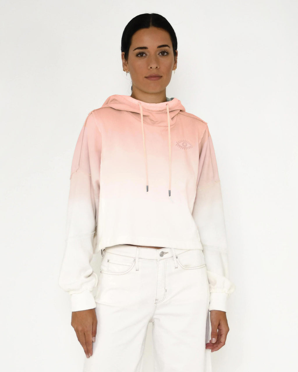 CT18650 - OMBRE BOXY CROP HOODIE - tops - knitwear - Our ombre crop hoodie features a slight mock neck, subtle evil eye embroidery and unique seam detailing. Add 1 line break Stylist Tip: Style with the matching shorts.