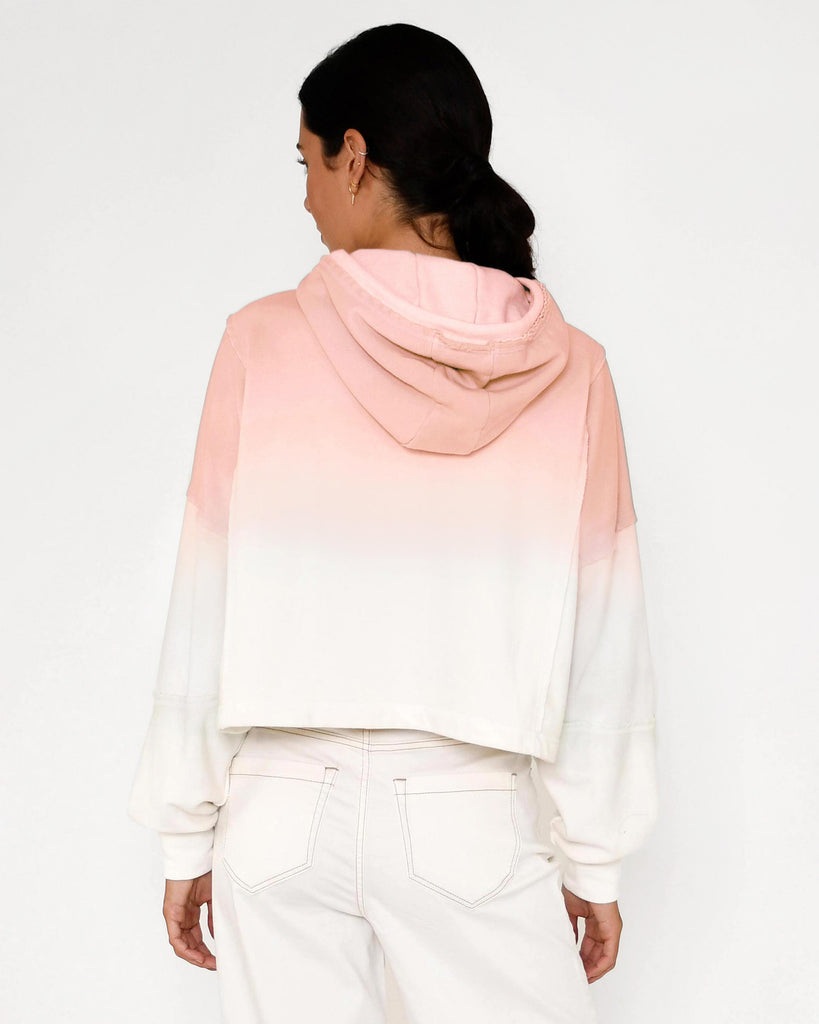 CT18650 - OMBRE BOXY CROP HOODIE - tops - knitwear - Our ombre crop hoodie features a slight mock neck, subtle evil eye embroidery and unique seam detailing. Add 1 line break Stylist Tip: Style with the matching shorts. Alternate View