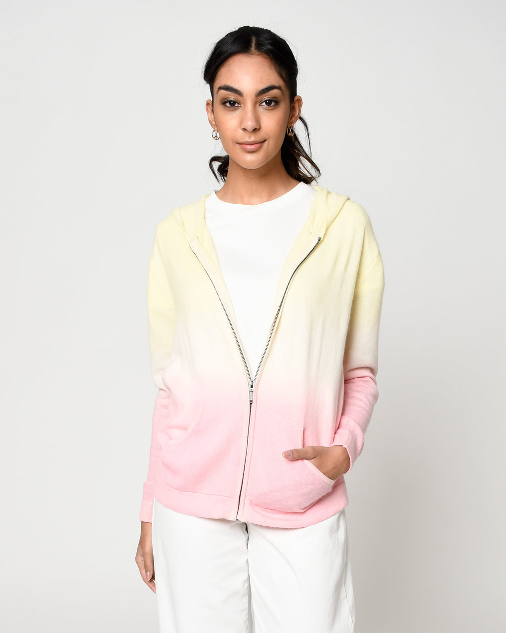CT18653 - DIP DYE CASHMERE ZIP UP HOODIE - tops - knitwear - Crafted from 100% cashmere, this zip up hoodie is hand dyed in yellow and pink ombre. Add 1 line break Stylist Tip: Pair with white jeans during a chilly summer night.