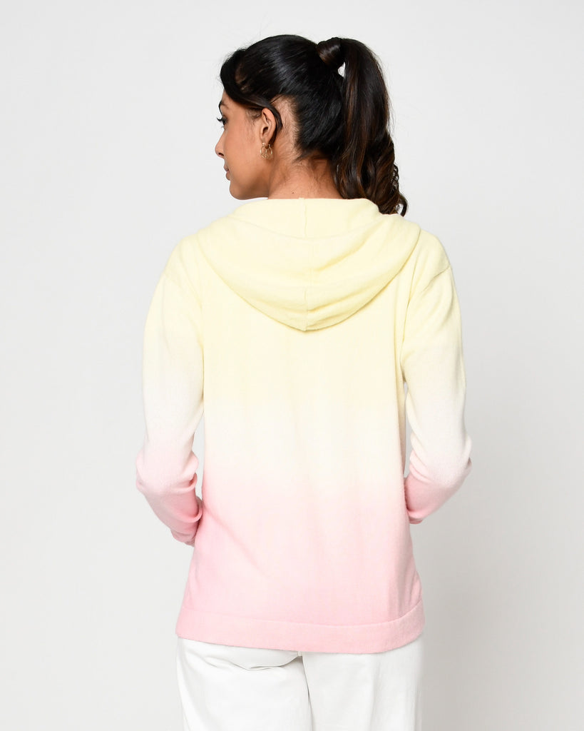 CT18653 - DIP DYE CASHMERE ZIP UP HOODIE - tops - knitwear - Crafted from 100% cashmere, this zip up hoodie is hand dyed in yellow and pink ombre. Add 1 line break Stylist Tip: Pair with white jeans during a chilly summer night. Alternate View