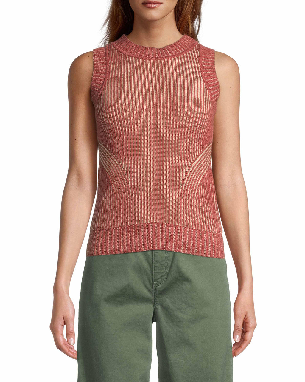 CT18670 - PLAITED COTTON SLEEVELESS SWEATER - tops - knitwear - This on trend sleeveless style is made from thick 100% cotton with plaiting details throughout. Featuring a halter neck for a flattering fit. Add 1 line break Stylist Tip: Pair with our olive wide leg jeans like in our Resort 2020 campaign.