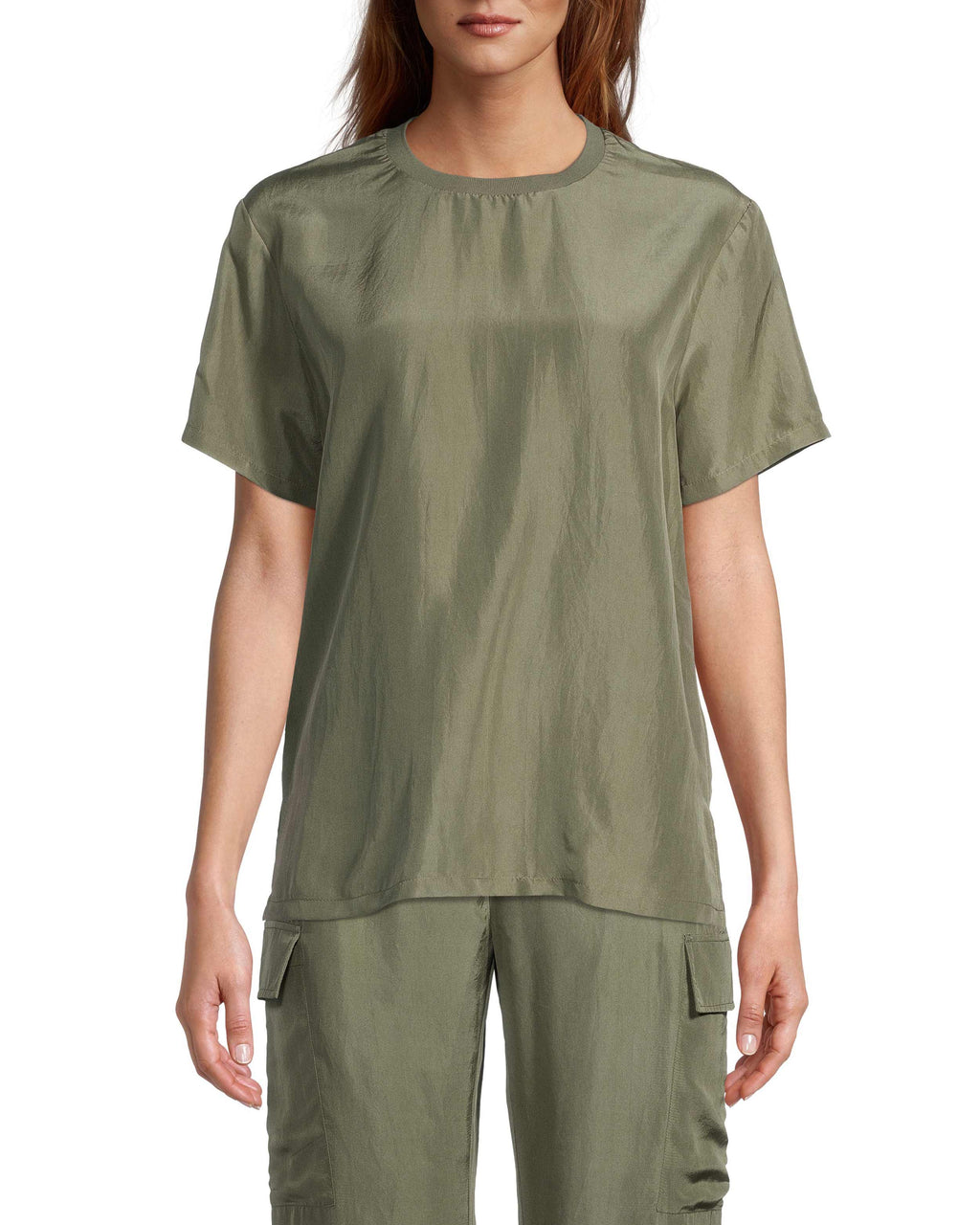 CT18681 - SOLID SILK OVERSIZED T-SHIRT - tops - blouses - Our solid silk oversized t-shirt is the perfect basic to add to your collection. Cut from 100% silk, this lightweight piece has a slight sheen to it when it catches the light. Add 1 line break Stylist Tip: Style with everything from matching cargo pants to boyfriend jeans.