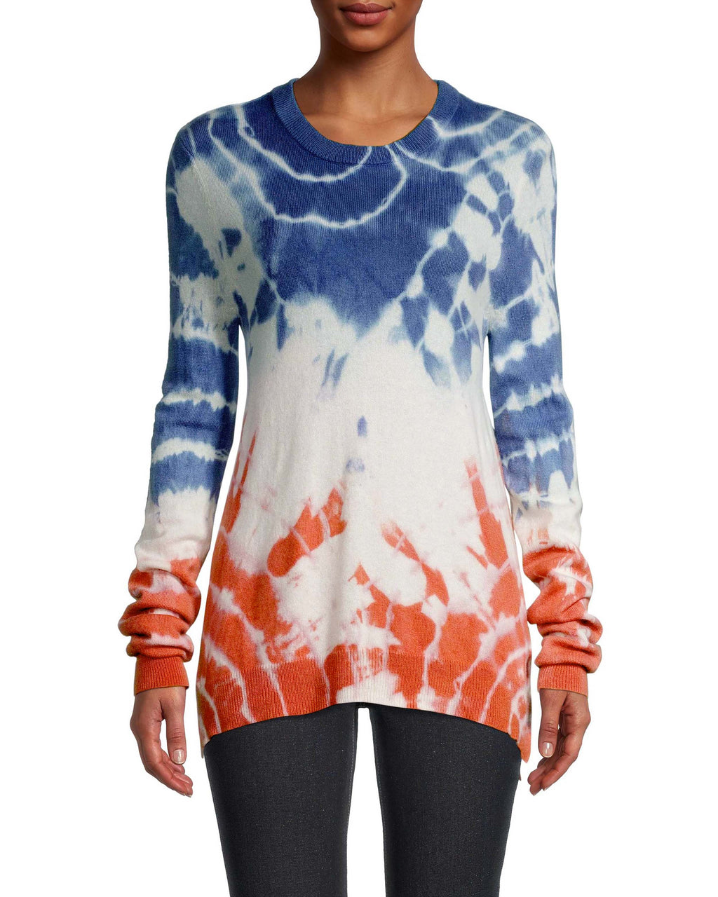 CT18686 - TIE DYE CREW NECK SWEATER - tops - knitwear - Crafted from luxe cashmere, this crew neck sweater features contrasting tie dye. This slightly oversized piece is perfect for layering over t-shirts or simply wearing solo. Add 1 line break Stylist Tip: Pair with denim and gold jewelry.