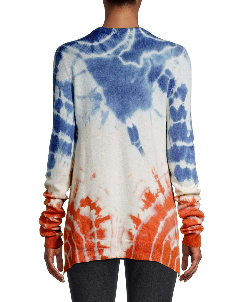 CT18686 - TIE DYE CREW NECK SWEATER - tops - knitwear - Crafted from luxe cashmere, this crew neck sweater features contrasting tie dye. This slightly oversized piece is perfect for layering over t-shirts or simply wearing solo. Add 1 line break Stylist Tip: Pair with denim and gold jewelry. Alternate View