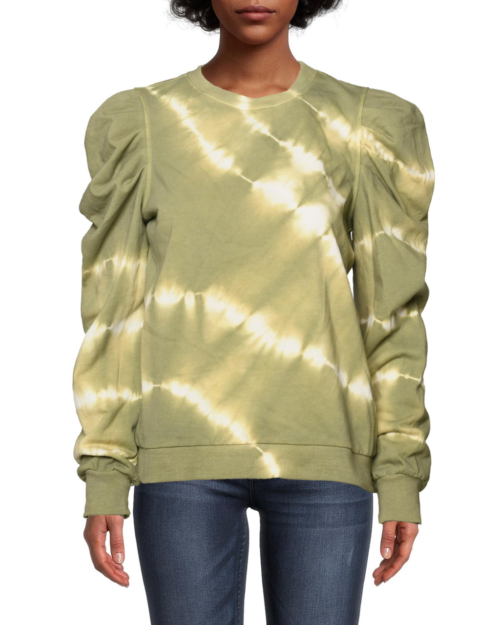 CT18689 - TIE DYE PUFF SLEEVE CREW NECK SWEATSHIRT - tops - knitwear - Loungewear, elevated. The everyday essential is updated with modern tie dye, a feminine puffed sleeve and ribbing at the hem and cuff. Perfect for lounging at home or a lunch date.Each item is hand-dyed for unique details. There may be a slight variation in color or pattern. Add 1 line break Stylist Tip: Pair with our silk cargo pants for an off duty look.