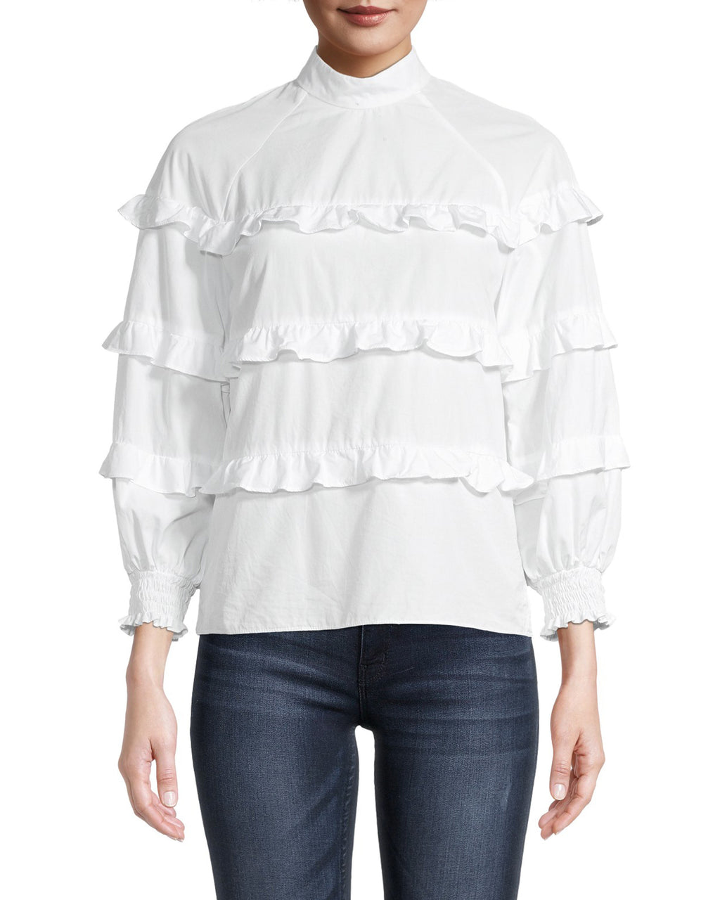CT18751 - COTTON POPLIN RUFFLE BLOUSE - tops - blouses - We've created the perfect white blouse just for you. This long sleeve style has tiered ruffles down the bodice and cuffed sleeves. Add 1 line break Stylist Tip: pair with our wide leg jeans for a laid back look.