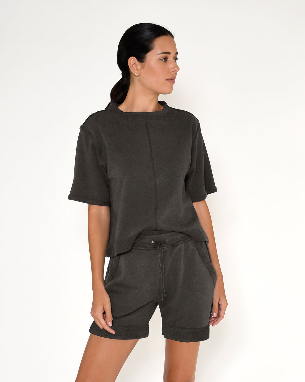 CT18801 - TERRY SHORT SLEEVE TOP - tops - knitwear - This terry short sleeve top is designed in the perfect relaxed fit in a cool slate gray. Add 1 line break Stylist Tip: Pair with the matching shorts for a cool beach cover up.