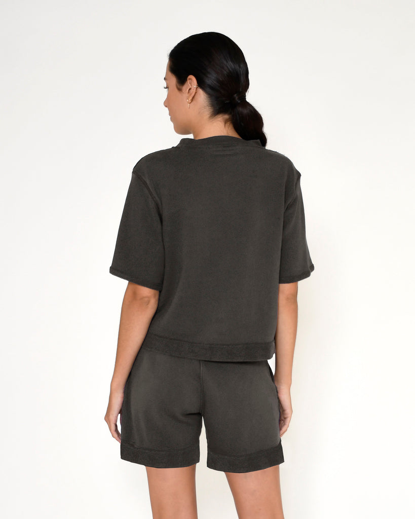 CT18801 - TERRY SHORT SLEEVE TOP - tops - knitwear - This terry short sleeve top is designed in the perfect relaxed fit in a cool slate gray. Add 1 line break Stylist Tip: Pair with the matching shorts for a cool beach cover up. Alternate View
