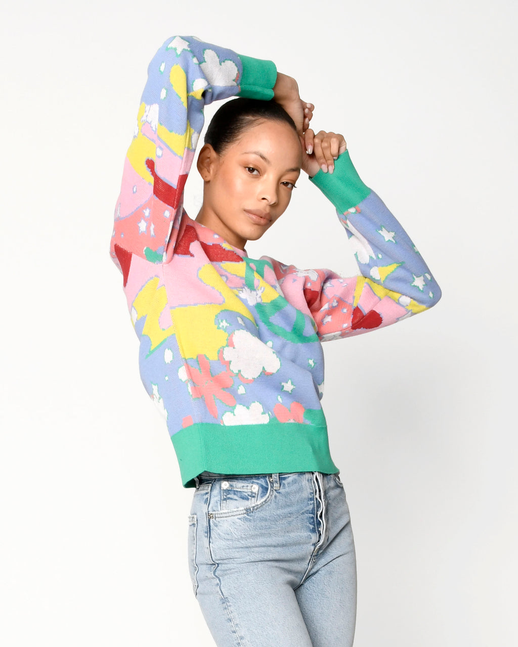 CT18803 - UNIVERSAL LOVE CREW NECK SWEATER - tops - knitwear - Our candy colored universal love sweater is designed in a classic crew neck silhouette. Featuring peace sign, star and cloud motifs Add 1 line break Stylist tip: Style with white denim.