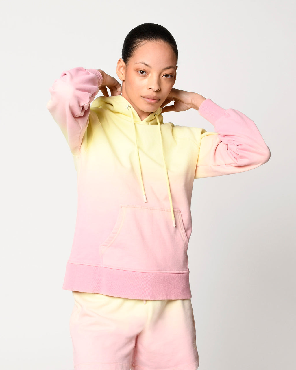 CT18811 - SORBET DIP DYE HOODIE - tops - knitwear - Our sweet sorbet colored hoodie is hand dyed for an ombre effect. Featuring monochrome evil eye embroidery. Add 1 line break Stylist Tip: Size up for a cozy and oversized fit.