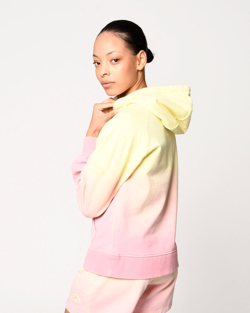 CT18811 - SORBET DIP DYE HOODIE - tops - knitwear - Our sweet sorbet colored hoodie is hand dyed for an ombre effect. Featuring monochrome evil eye embroidery. Add 1 line break Stylist Tip: Size up for a cozy and oversized fit. Alternate View