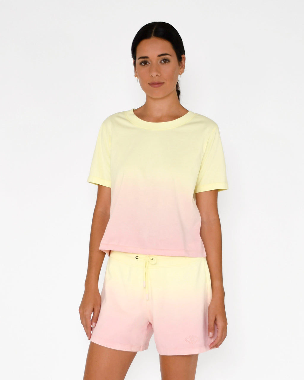 CT18813 - SORBET DIP DYE T-SHIRT - tops - knitwear - This classic crew neck tee gets a major upgrade in our candy colored ombre. Add 1 line break Stylist Tip: Pair with a white mini skirt or the coordinating shorts.