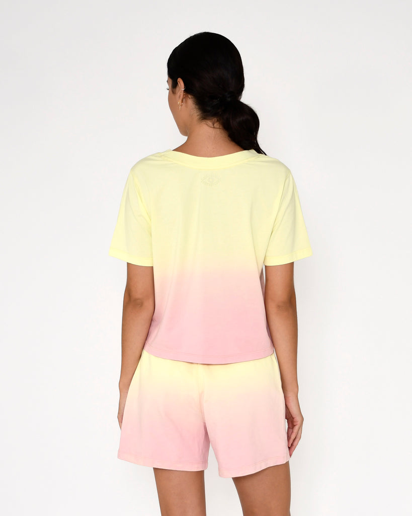 CT18813 - SORBET DIP DYE T-SHIRT - tops - knitwear - This classic crew neck tee gets a major upgrade in our candy colored ombre. Add 1 line break Stylist Tip: Pair with a white mini skirt or the coordinating shorts. Alternate View