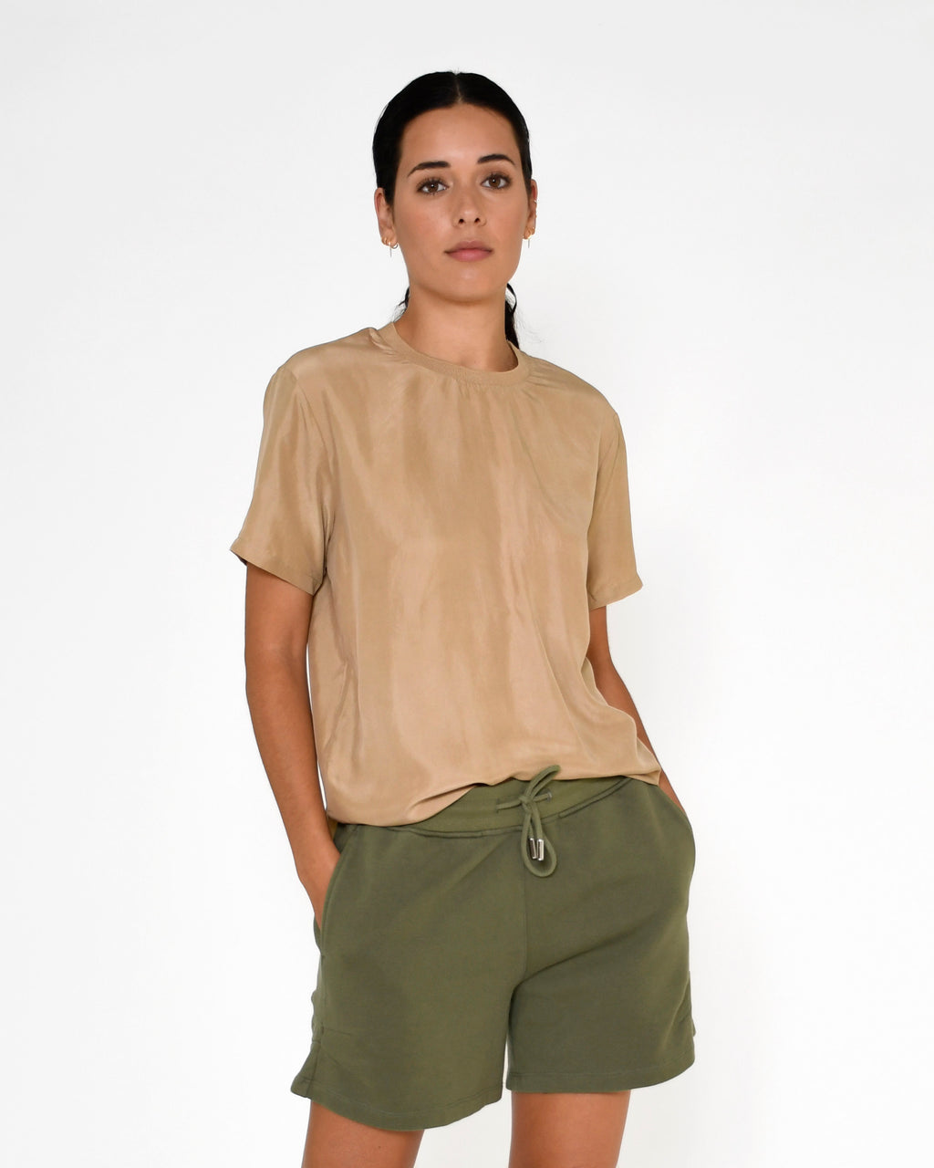 CT18899 - SOLID SILK T-SHIRT - tops - shirts - Our 100% silk t-shirt is the perfect elevated basic. Designed in a classic crew neck silhouette. Add 1 line break Stylist Tip: Pair with our silk joggers for a cool yet casual look.