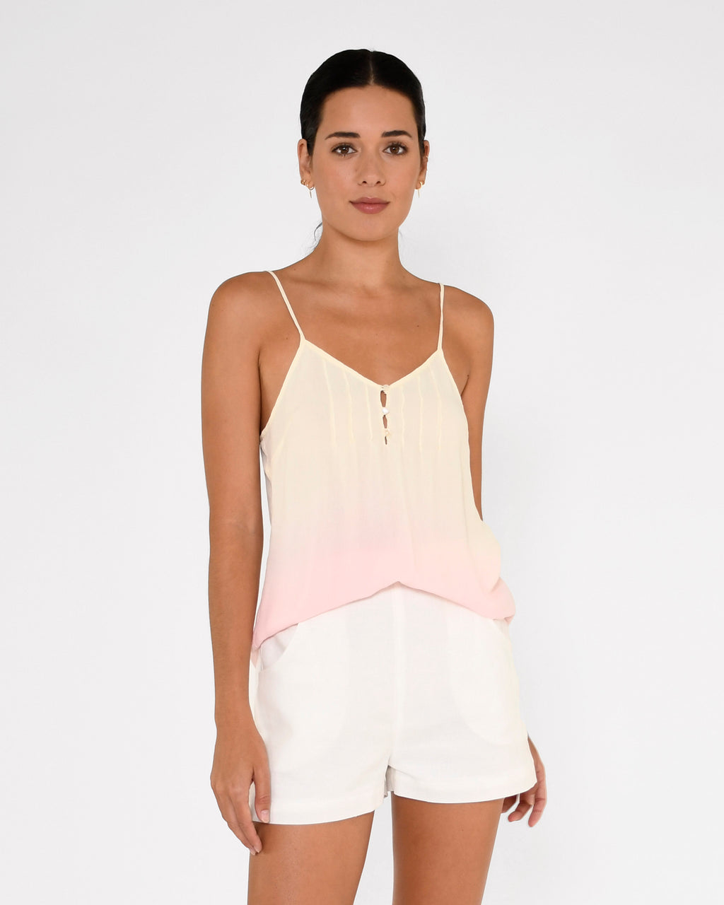 CT18963 - SORBET DIP DYE CAMI - tops - blouses - This delicate cami is hand dyed in our pastel sorbet dip dye and features thin adjustable straps and pearl buttons. Add 1 line break Stylist Tip: Pair with a white denim jacket on cooler spring nights.