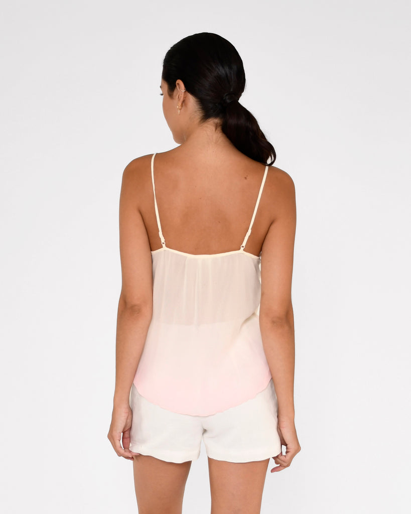 CT18963 - SORBET DIP DYE CAMI - tops - blouses - This delicate cami is hand dyed in our pastel sorbet dip dye and features thin adjustable straps and pearl buttons. Add 1 line break Stylist Tip: Pair with a white denim jacket on cooler spring nights. Alternate View