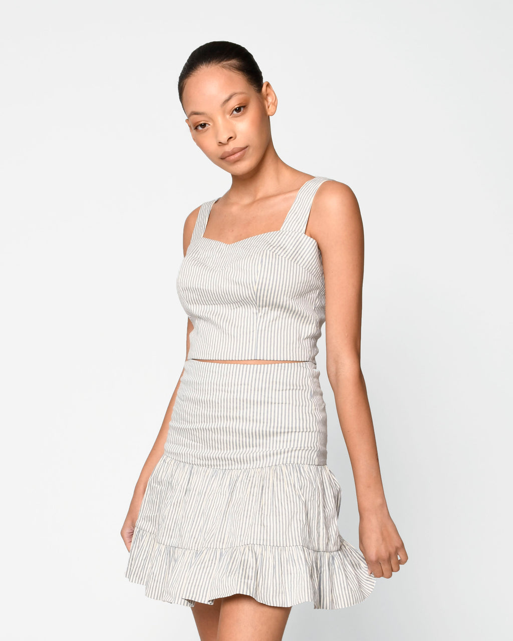CT18987 - COTTON METAL STRIPE CROP TOP - tops - blouses - Crop tops are a spring/summer staple and this one is no exception. Designed in a fitted silhouette with a square neck and thick straps. Add 1 line break Stylist Tip: Pair with our striped skirt for a matching set.
