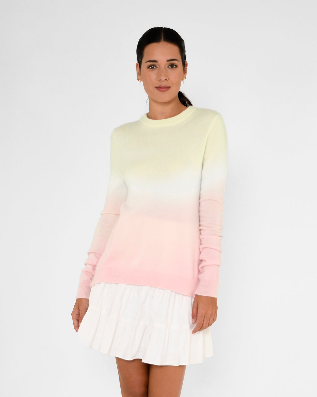 CT19016 - DIP DYE CREW NECK CASHMERE SWEATER - tops - knitwear - Our 100% cashmere crew neck is hand dyed in a pastel pink ombre. Add 1 line break Stylist Tip: Pair with jeans and simple jewelry.