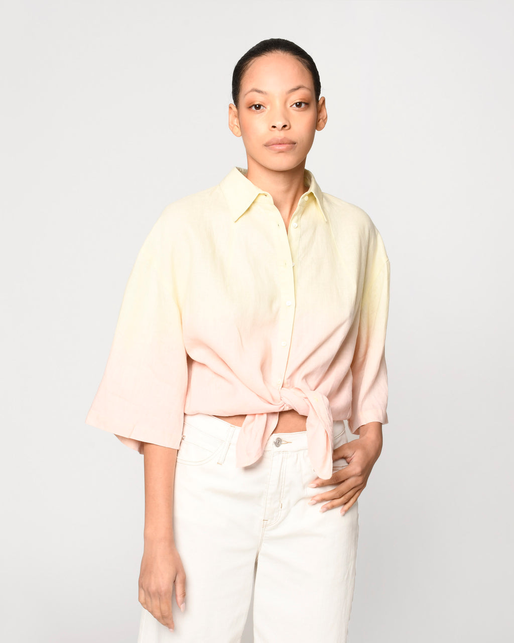 CT19056 - OVERSIZED DIP DYE LINEN SHIRT - tops - shirts - Our oversized dip dyed linen shirt is the perfect ombre of pink and yellow. Crafted from lightweight linen. Add 1 line break Stylist Tip: Wear with white denim.