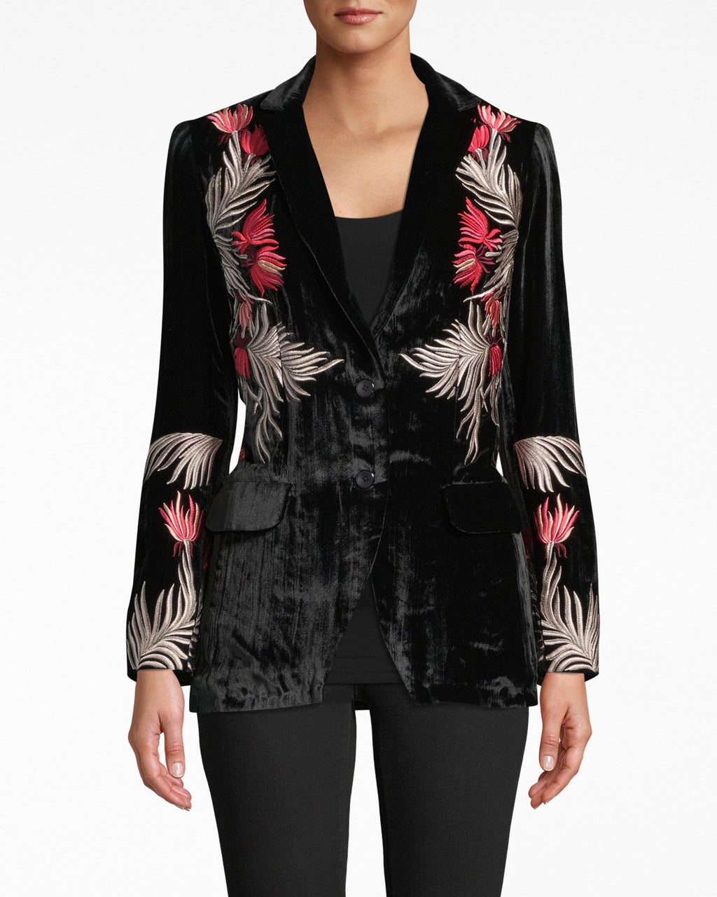 DA20044 - EMBROIDERED VELVET BLAZER - outerwear - jackets - This embroidered jacket is a velvety dream. Modern detailing flourishes on the upper body and lower sleeves. A classic tailored fit keeps it polished for dinner.