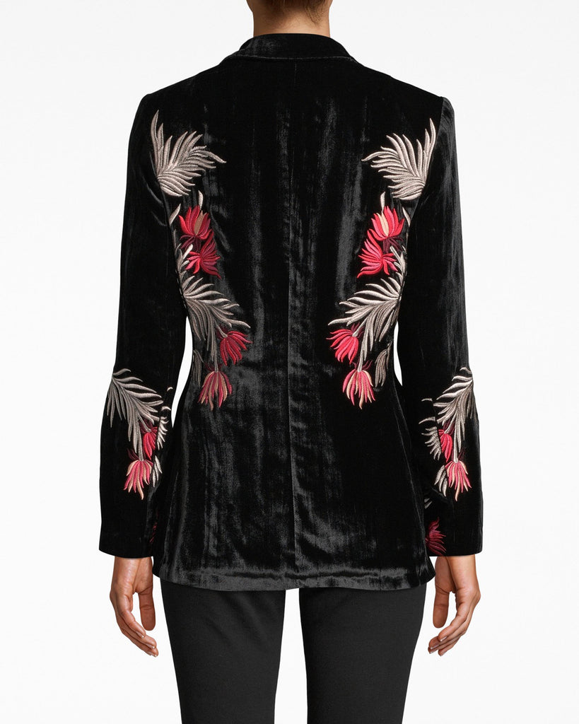 DA20044 - EMBROIDERED VELVET BLAZER - outerwear - jackets - This embroidered jacket is a velvety dream. Modern detailing flourishes on the upper body and lower sleeves. A classic tailored fit keeps it polished for dinner. Alternate View