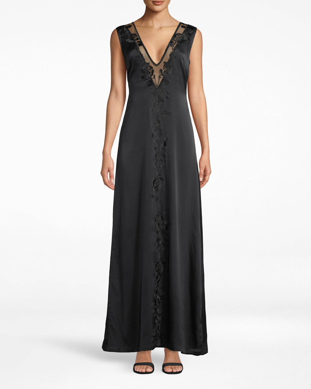 DK20075 - FLOWER EMBROIDERY PLUNGE GOWN - dresses - long - Keep staring. This plunge gown shows off hints of skin around the neckline with mesh. Embroidered details only add to the elegance. Exposed zipper meets lower back.