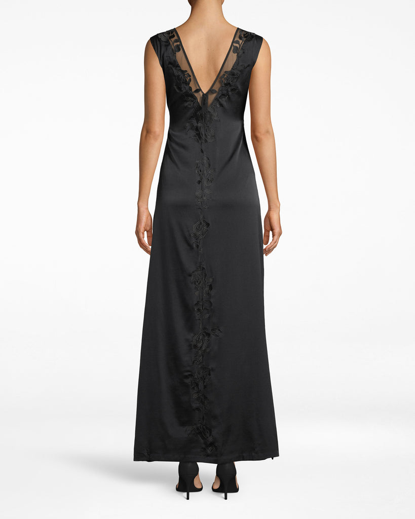 DK20075 - FLOWER EMBROIDERY PLUNGE GOWN - dresses - long - Keep staring. This plunge gown shows off hints of skin around the neckline with mesh. Embroidered details only add to the elegance. Exposed zipper meets lower back. Alternate View