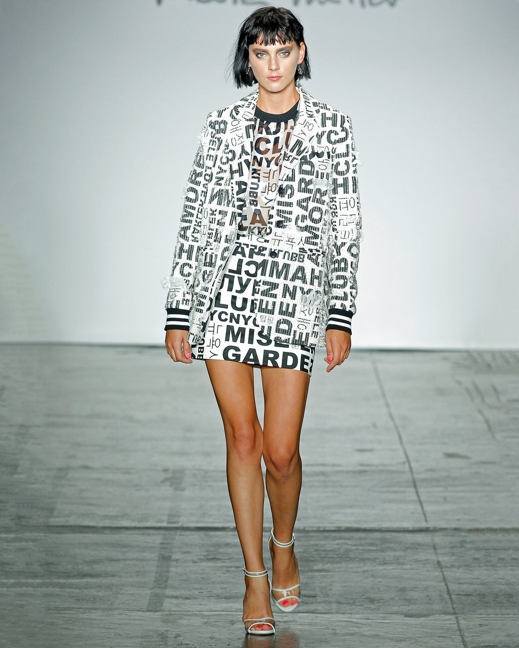 DL10008 - WORDS & LETTERS EMBELLISHMENT BOYFRIEND JACKET - outerwear - jackets - EMBELLISHMENTS, SHREDS, WORDS - IT'S ALL IN THE DETAILS. THIS OVERSIZED STATEMENT JACKET (STRAIGHT FROM THE RUNWAY) WILL TURN HEADS.