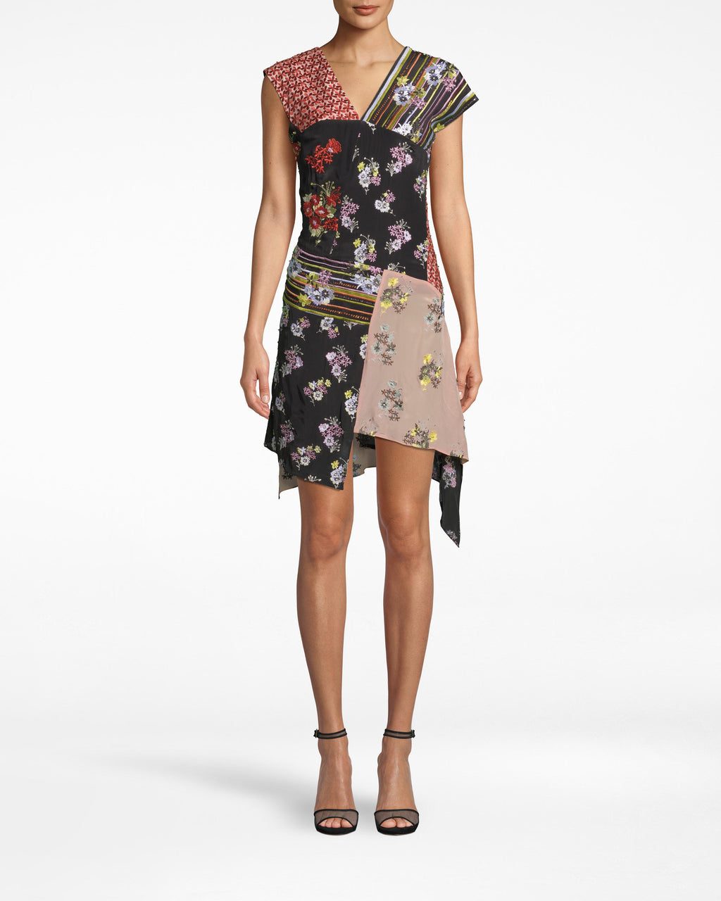 DM10050 - PROVENCE FLORAL EMBELLISHED PATCHWORK ASYMMETRICAL DRESS - dresses - short - THIS DETAILED MINI WILL HAVE YOU TURNING HEADS ALL NIGHT. THIS RUNWAY STYLE FEATURES A SLIGHT CAPE SLEEVE, V NECKLINE AND AN ASYMMETRICAL HEM FOR ADDED TEXTURE. EMBELLISHED THROUGHOUT WITH BEADS, RHINESTONES AND SEQUINS. FULLY LINED WITH SIDE ZIPPER FOR CLOSURE.