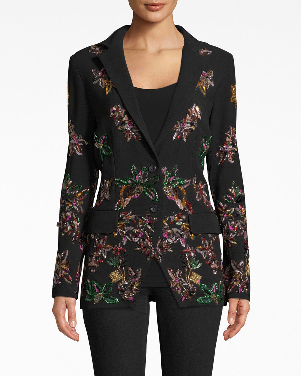 EA10012 - AUTUMN DREAM EMBELLISHED BLAZER - outerwear - blazers - She means business. Metallic embellishments elevate this fitted blazer into a knockout evening piece. Exposed front buttons for closure.