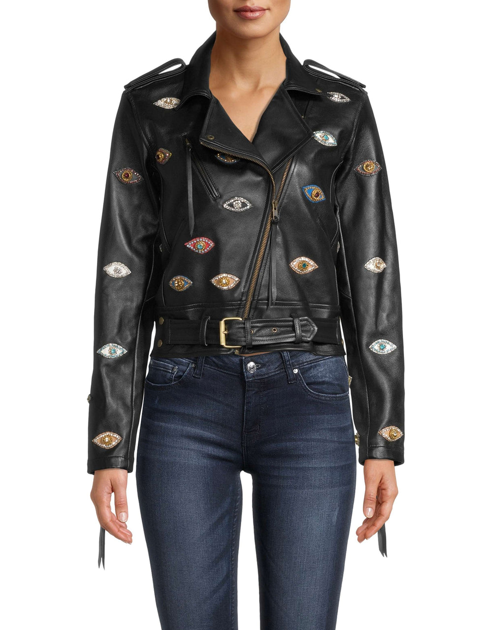 EK10021 - Evil Eye Embellished Leather Jacket - outerwear - leather - Can't stop staring. Our fine-crafted leather jacket is modernized with vivid Evil Eye patches and a belted hem. The sleeve zippers have decorative pulls. Exposed gold zipper for closure.