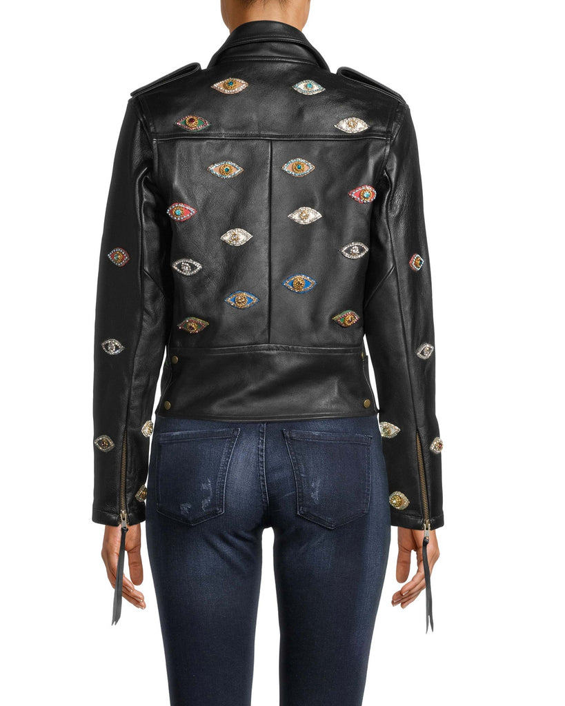 EK10021 - Evil Eye Embellished Leather Jacket - outerwear - leather - Can't stop staring. Our fine-crafted leather jacket is modernized with vivid Evil Eye patches and a belted hem. The sleeve zippers have decorative pulls. Exposed gold zipper for closure. Alternate View