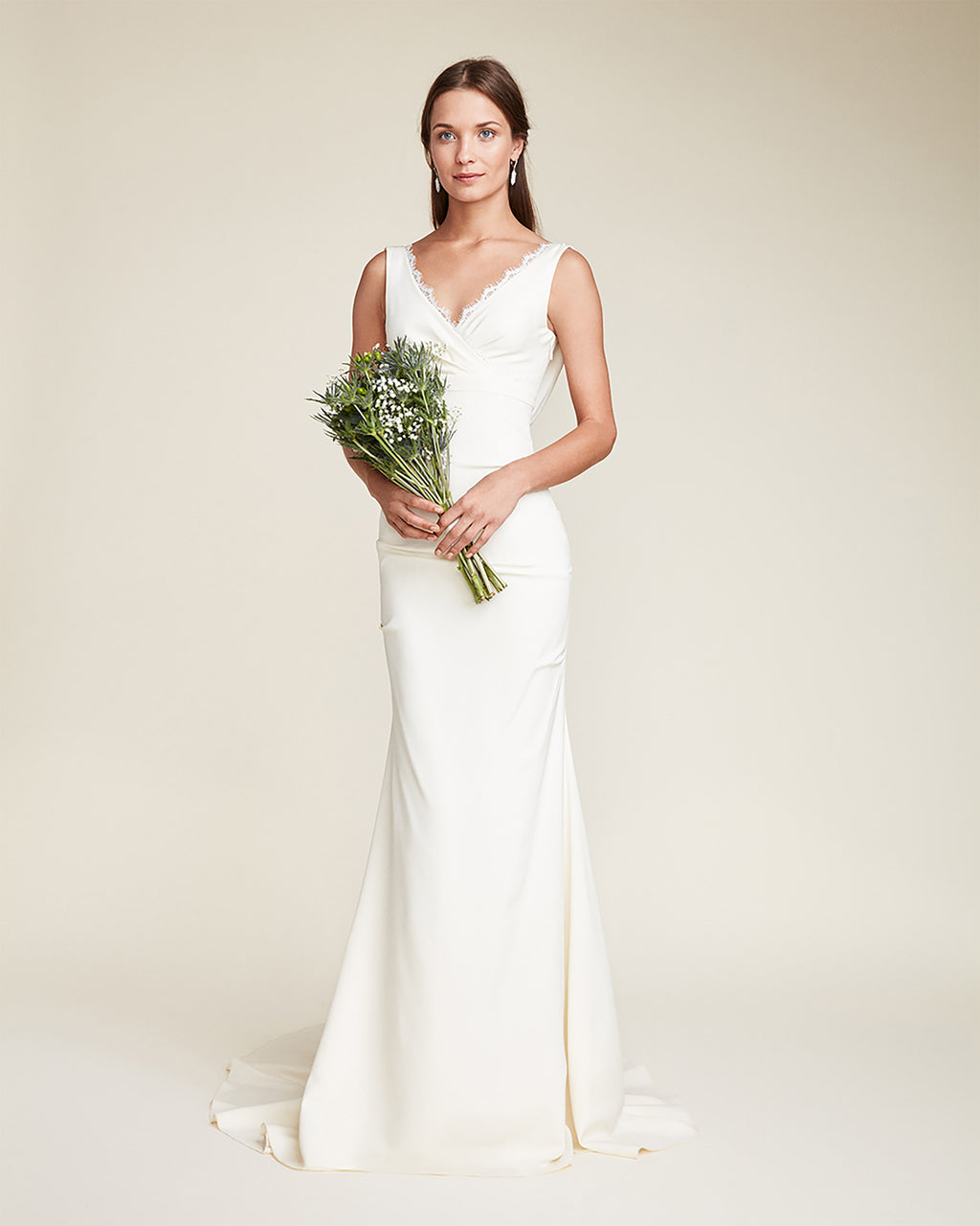 FJ10003 - NINA GOWN - bridal collection - bridal - A sophisticated scalloped neck line and draped open back with lace details add elegance to this bridal gown. Finished in a luxurious silk, this gown is fully lined and finished with a concealed zipper for closure.~fsbr