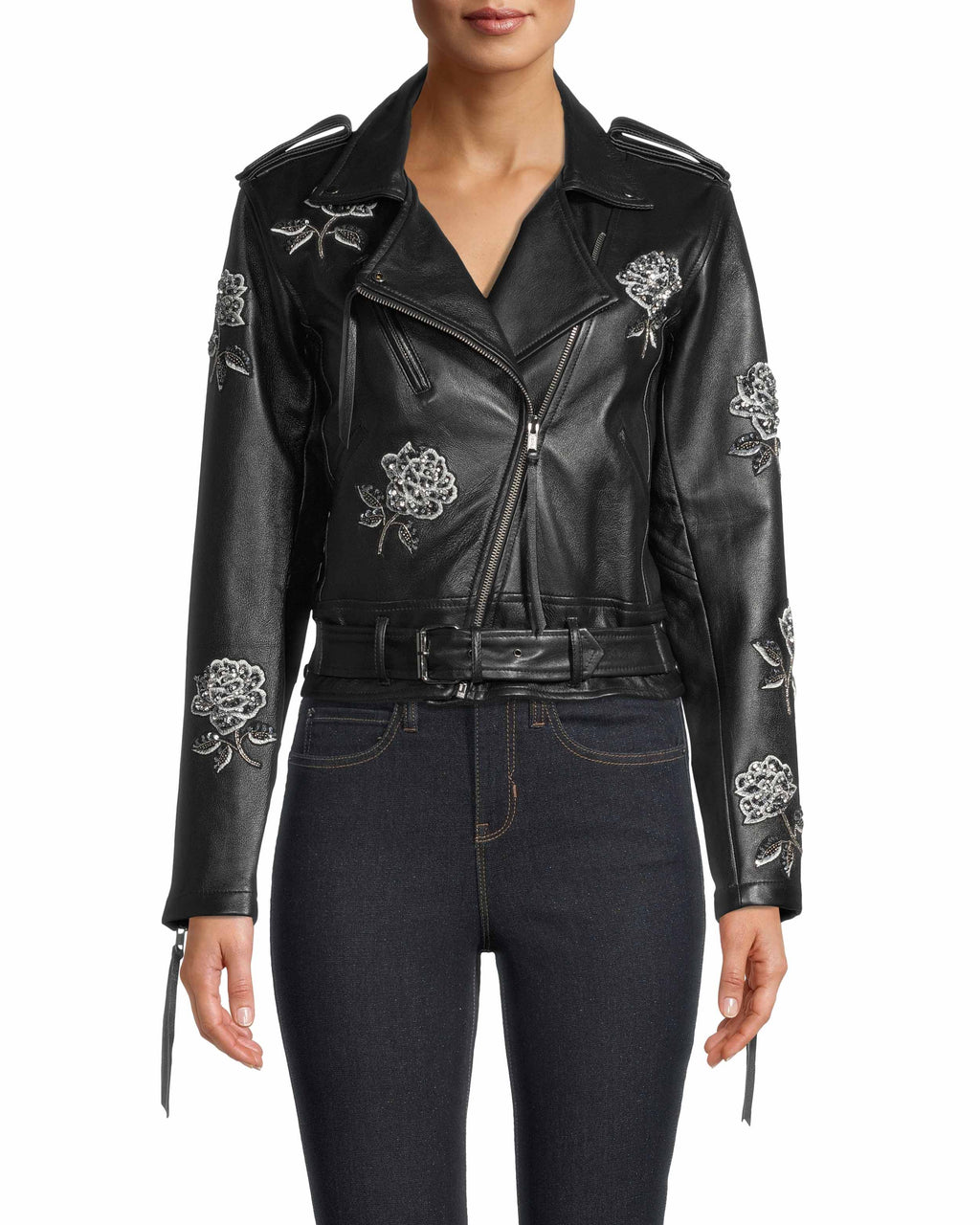 FJ10032 - EMBELLISHED ROSE MOTO JACKET - outerwear - leather - A classic leather jacket style with rose bud embellishments add a playfulness element.