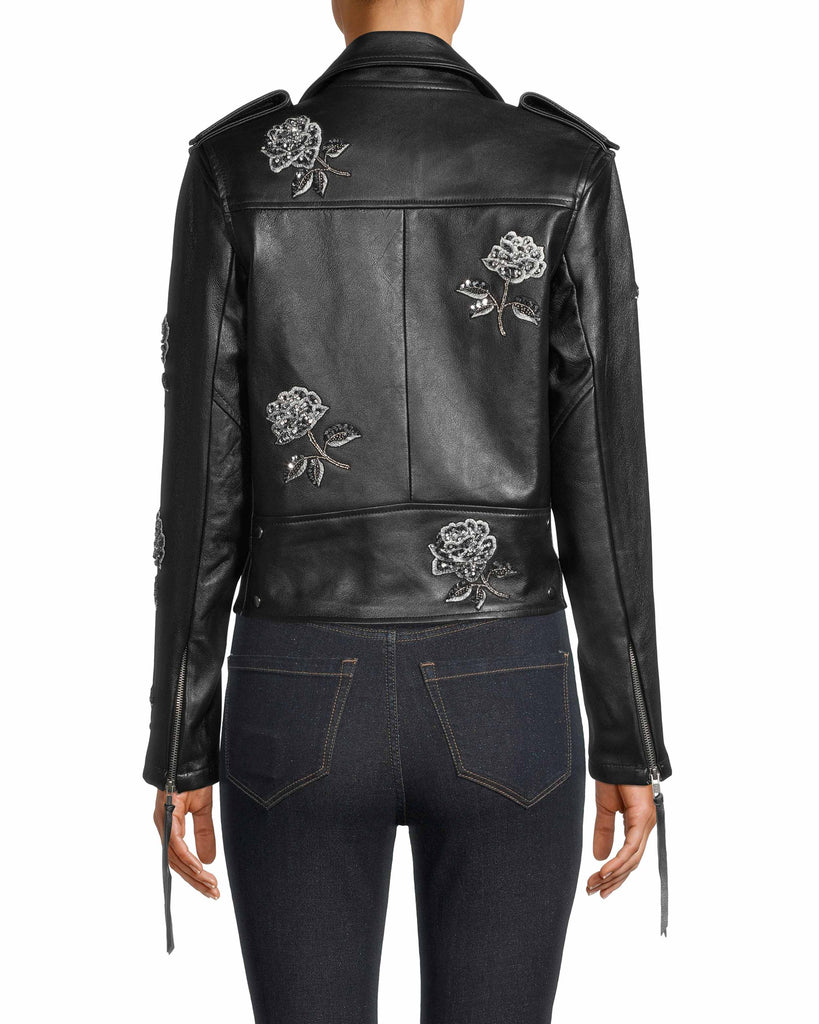 FJ10032 - EMBELLISHED ROSE MOTO JACKET - outerwear - leather - A classic leather jacket style with rose bud embellishments add a playfulness element. Alternate View