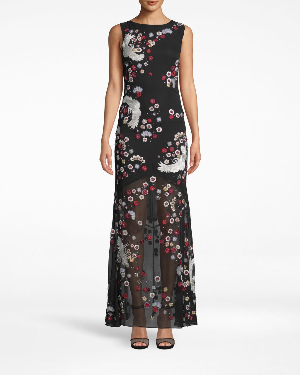 FJ10037 - CRANE AND CHERRY BLOSSOM GOWN - dresses - long - DELICATE BEADING AND EMBROIDERY DECORATE THIS STRIKING GOWN. PAIR WITH SIMPLE ACCESSORIES FOR A STANDOUT MOMENT. MOSTLY LINED WITH A SHEER BOTTOM.